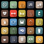 Wellness flat icons with long shadow