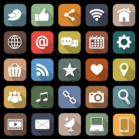 Social media flat icons with long shadow, stock ve...