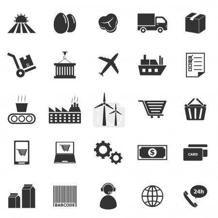 Illustration for Supply chain icons on white background, stock vector - Royalty Free Image