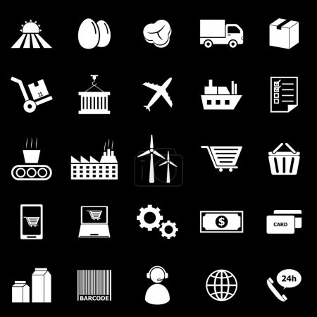 Illustration for Supply chain icons on black background, stock vector - Royalty Free Image