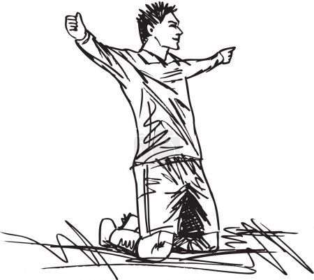 Illustration for Sketch of happy soccer player is celebrating a goal. Vector illustration - Royalty Free Image