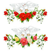 Roses  pigeons and wedding rings