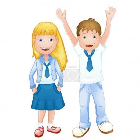 Boy and girl in school uniform