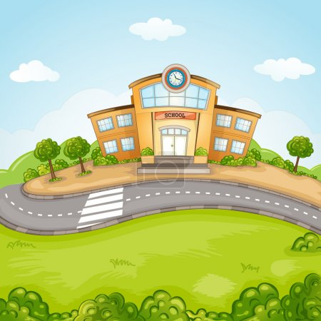 Illustration for Illustration of School Building. - Royalty Free Image