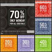 Set of coloured discount cupons