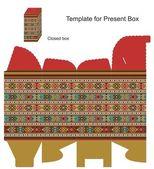 Present box with ethnic ornaments