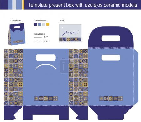 Gift box with blue azulejos ceramic models