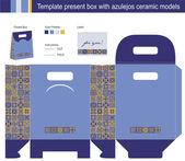 Dárková krabička s modrými azulejos keramické modely