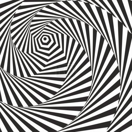 Illustration pour Illusion optique en noir et blanc. Effet vasarement optique . - image libre de droit