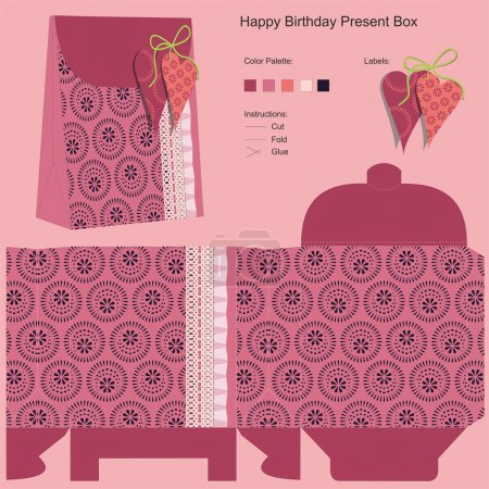 Illustration pour Modèle de boîte de cadeau joyeux anniversaire - image libre de droit
