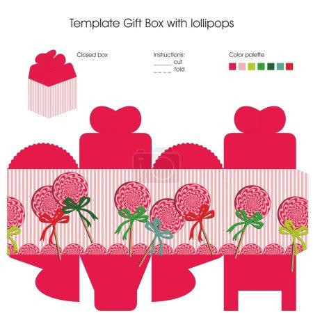Illustration pour Conception avec des bonbons à sucettes pour le modèle de boîte cadeau. Y compris palette de couleurs et instructions . - image libre de droit