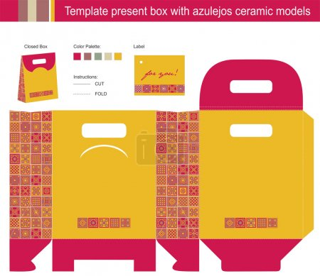 Illustration for Template present box with azulejos ceramic models - Royalty Free Image