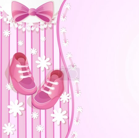 Pink baby shower card with baby shoes