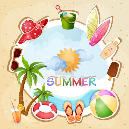 Illustration for Summer beach illustration with palm trees - Royalty Free Image