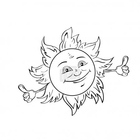 Illustration for Happy smiling sun isolated on white.Drawing style black and white. - Royalty Free Image