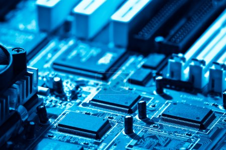 Photo for High technology computer circuit close-up blue toned - Royalty Free Image