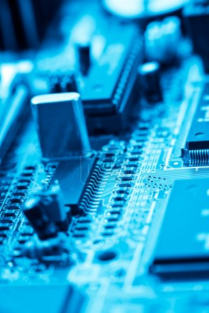 Photo for Closeup of blue electronic circuit - Royalty Free Image
