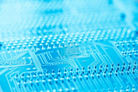 Photo for Circuit board blue toned with shallow depth of filed - Royalty Free Image