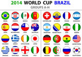 World Cup Brazil 2014 flags Groups A to H 8 groups 32 nations Circle round designs Used shadows Carefully designed You can use original rectangle vector flags First ungroup Then release clipping mask