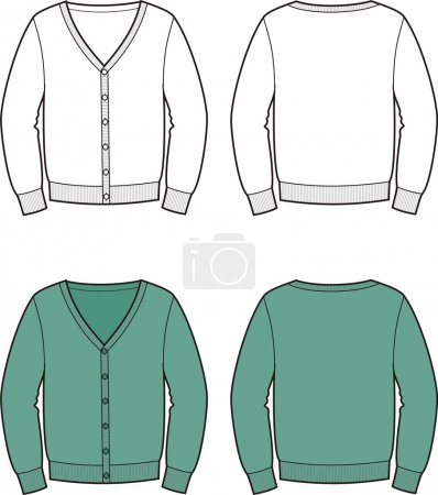 Vector illustration of men's cardigan