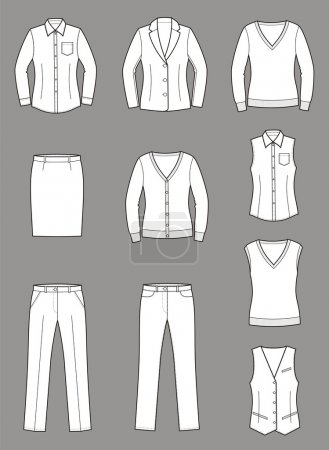 Vector illustration of women's business clothes