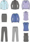 Business clothes: shirt jacket jumper skirt vest pants
