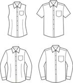Vector illustration of men's and women's shirts Front and back views