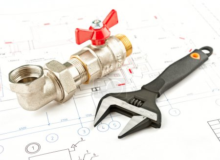 Photo for Spanner and fitting on a draft background - Royalty Free Image