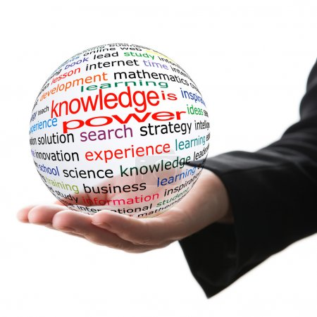 Photo for Transparent ball with inscription knowledge is power in a hand - Royalty Free Image