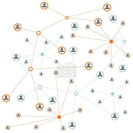Illustration pour Contexte du réseau social avec des icônes de silhouette - image libre de droit