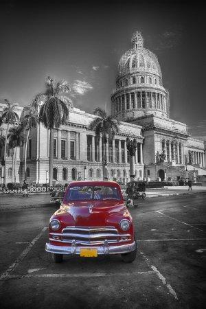 Red old car at Capitol, Havanna Cuba