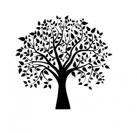 Illustration for Vector tree in black and white with leafes - Royalty Free Image