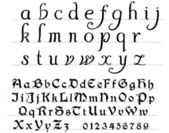 Medieval printed and hand written alphabet