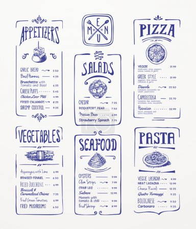 Illustration for Menu template. Blue pen drawing. Appetizers, vegetables,salads, seafood, pizza, pasta. - Royalty Free Image