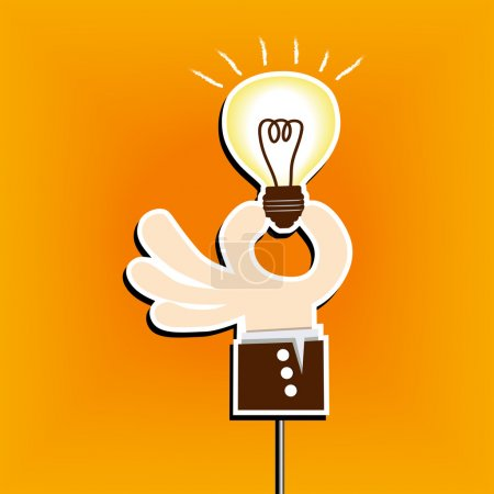 Business man hand hold light bulb idea