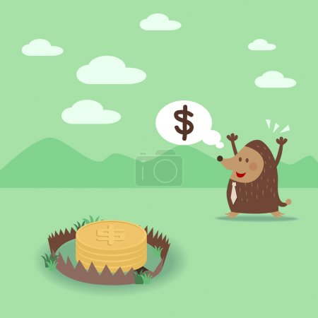 Illustration for Mole see money but he do not know that it is money trap. - Royalty Free Image