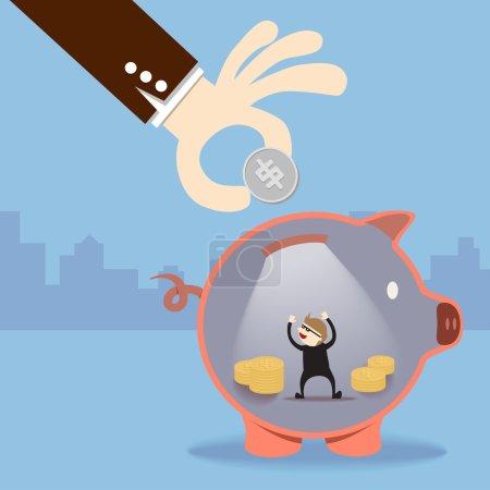 A thief steal money inside piggy bank