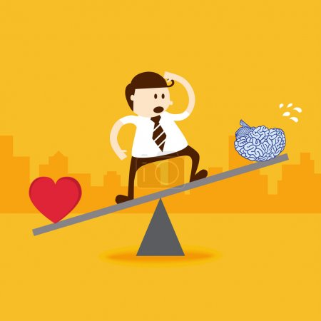 Business man stand on seesaw balancing with heart and brain