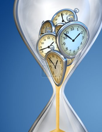 Hourglass time clock with sand