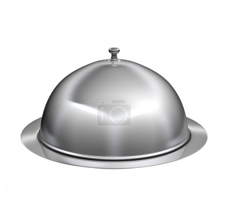 Photo for Restaurant cloche with lid - isolated on white background - Royalty Free Image