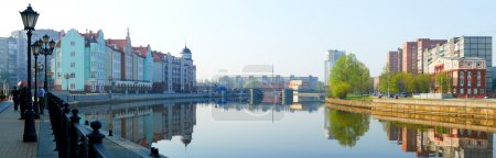 Ethnographic and trade center, embankment of the Fishing Village in Kaliningrad, Russia.