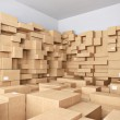 Warehouse with many cardboard boxes - 3d illustrat...