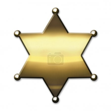 Photo pour Shérif Golden star - isolé sur fond blanc - image libre de droit