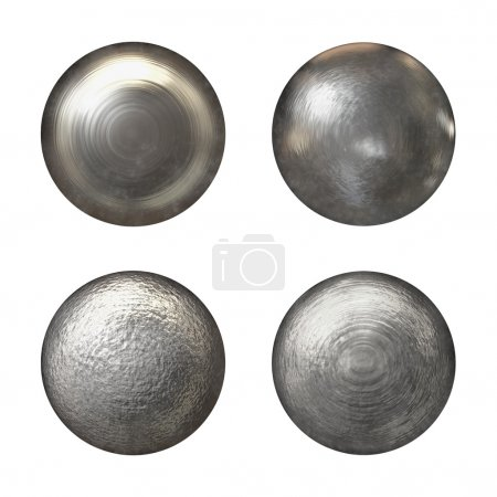Photo pour Collection de têtes de rivet acier - isolée sur blanc - image libre de droit