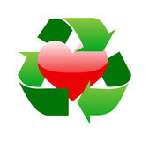 Green recycle sign around red glossy heart