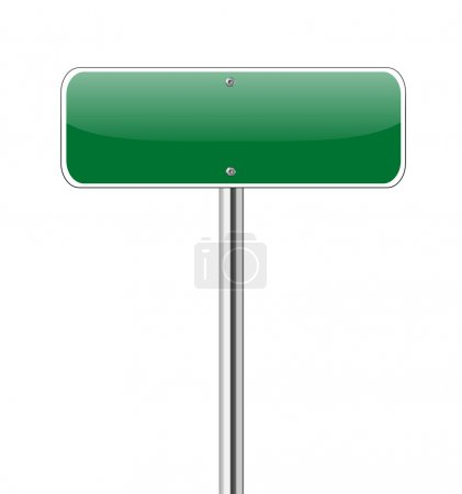 Illustration for Blank Green Road Sign Isolated on White - Royalty Free Image
