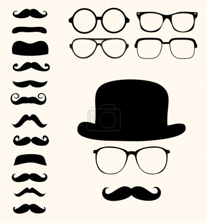 Illustration for Set of retro mustaches hat glasses - Royalty Free Image