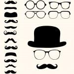 Set of retro mustaches hat glasses...