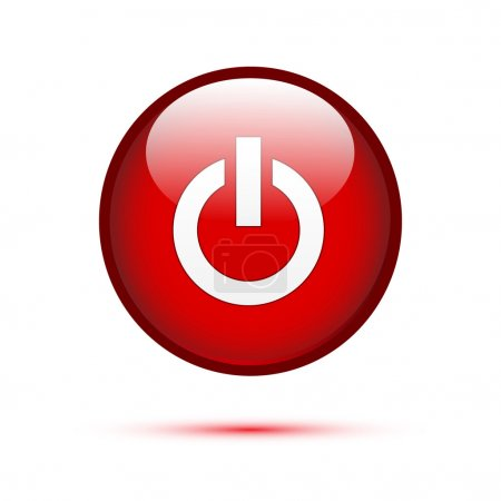 Illustration for Red glossy power button on white - Royalty Free Image
