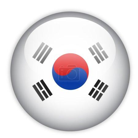 Illustration pour Bouton drapeau Corée du Sud sur blanc - image libre de droit